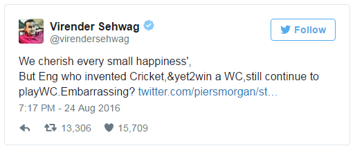 Sehwag Vs Piers Morgan Twitter Battle
