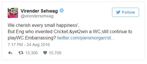 Sehwag Vs Piers Morgan Twitter Battle