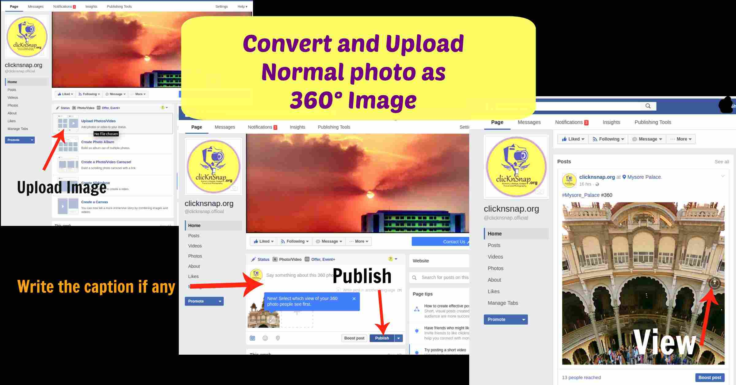 Facebook – How to Convert and Upload Normal photo as 360° Image
